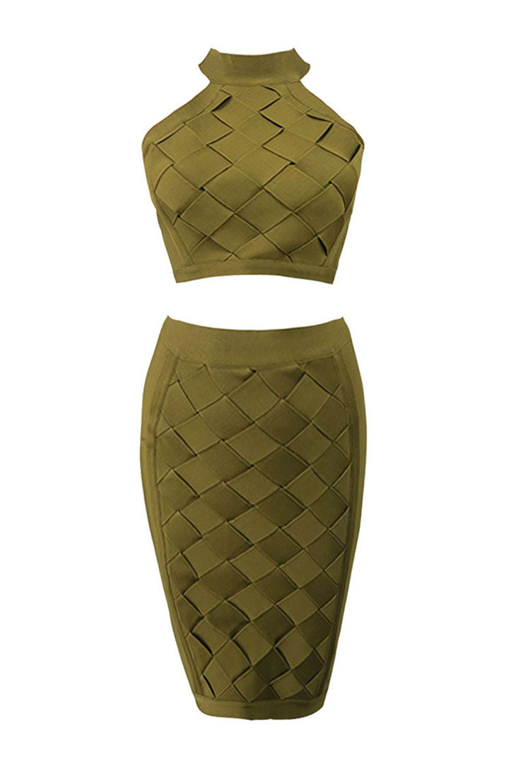 Two Piece Set Bodycon Bandage Dress Brown Black Pink - iulover