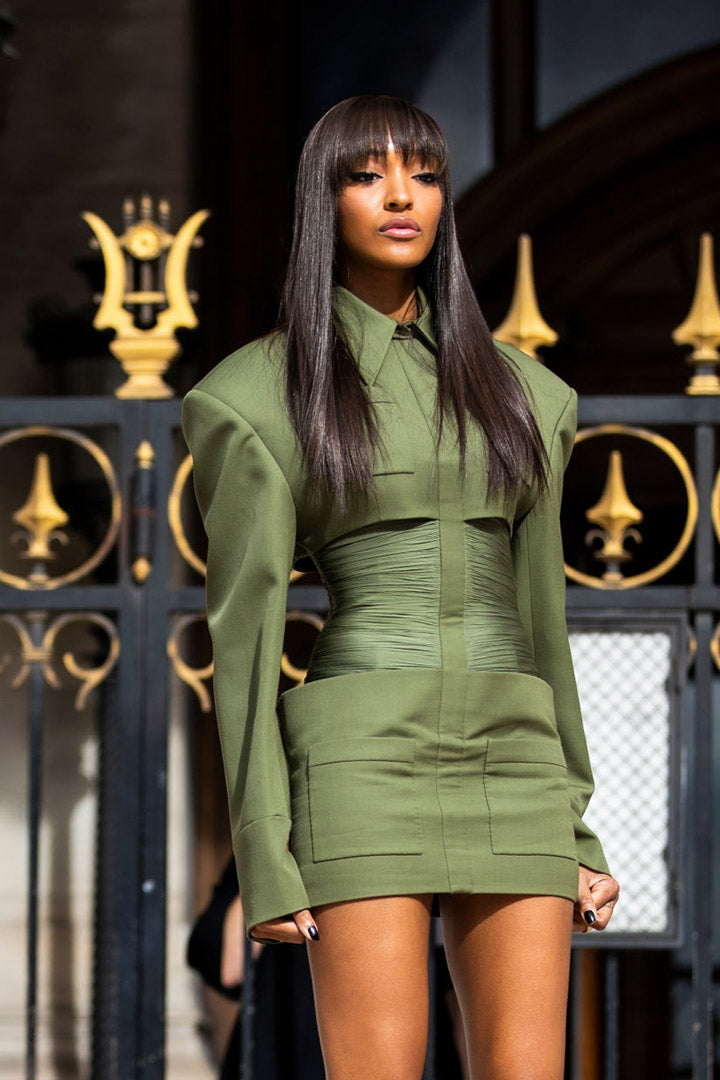 Green Long Sleeve Girdle High Waist Fall Winter Mini Dress