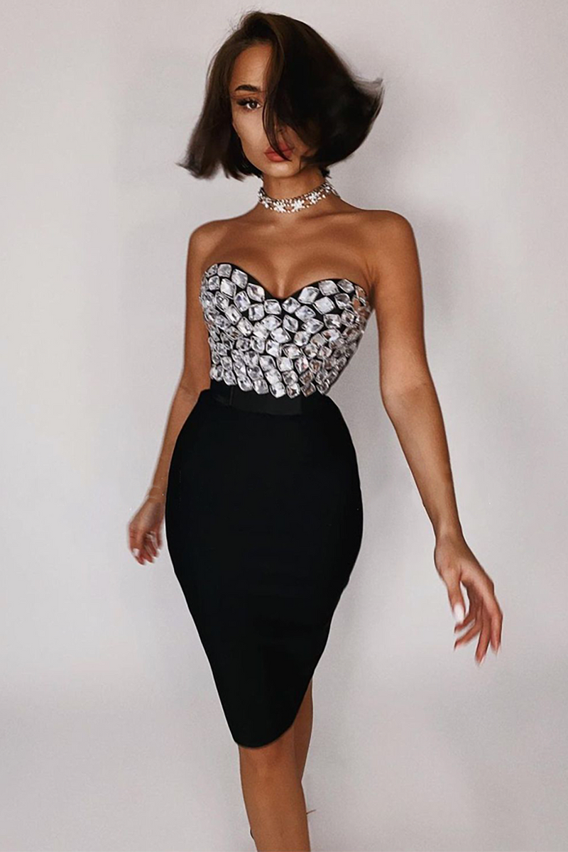 Beaded Strapless Top and Knee-length Skirt Bandage Two Piece Set (2)