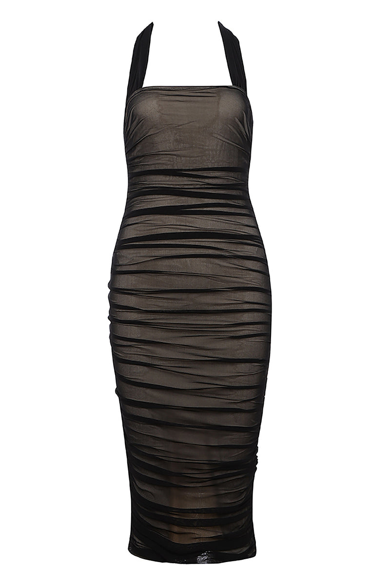 Halter Sleeveless Mesh Bodycon Midi Dress