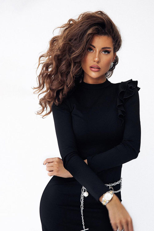 High Neck Long Sleeve Ruffled Midi Bandage Dress