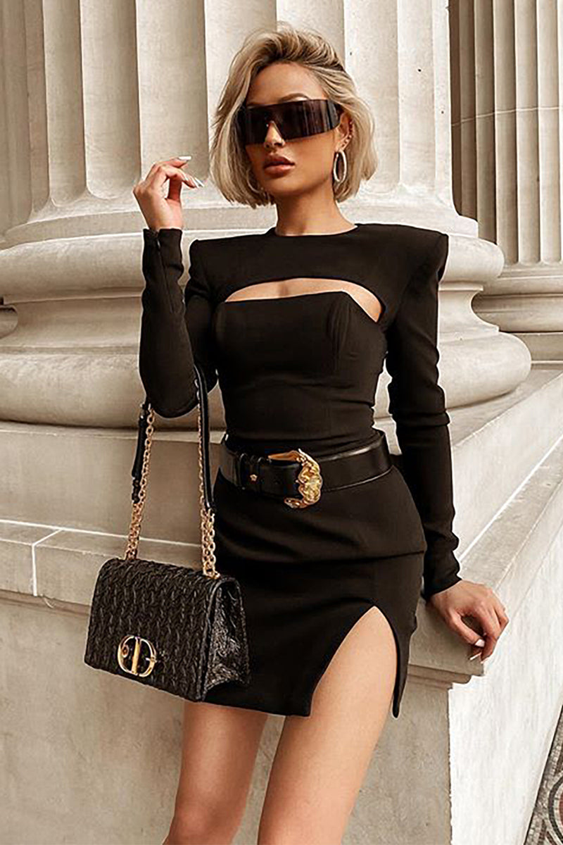Black Key Hole Split Bandage Dress