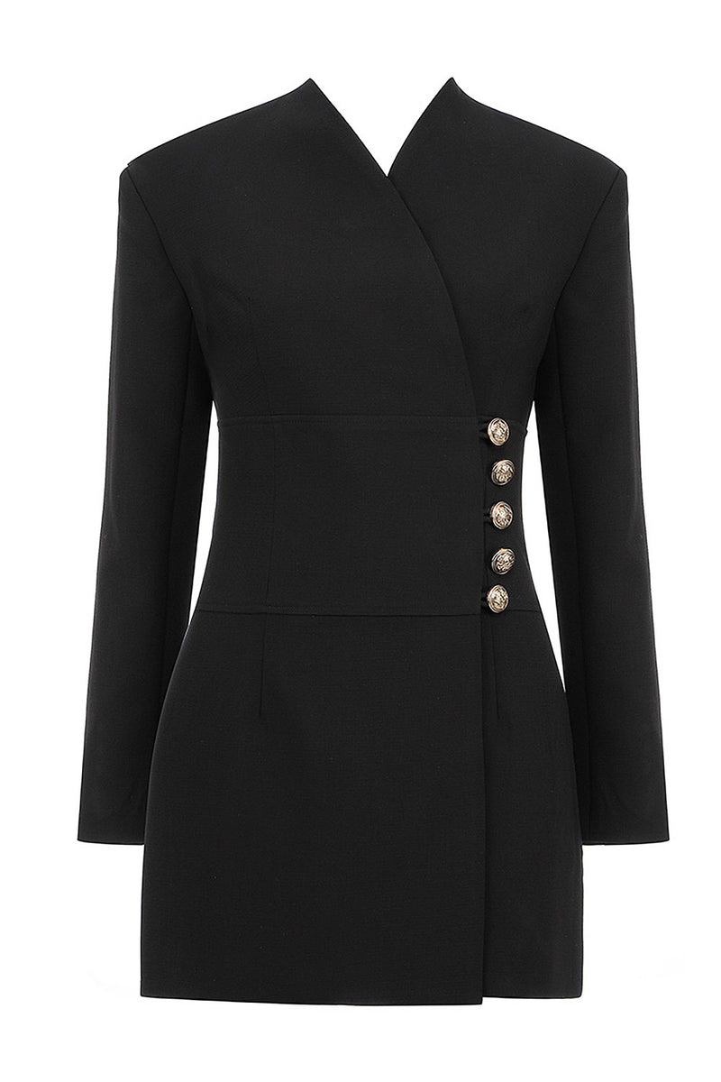 Black Long Sleeve V Neck Button Coat