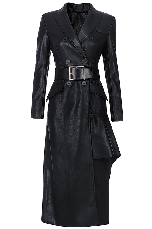 Black PU Deep V Neck Long Sleeve Belt Dress