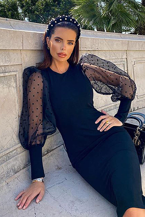 Long Sleeve O Neck Mesh Dot Black Midi Bandage Dress