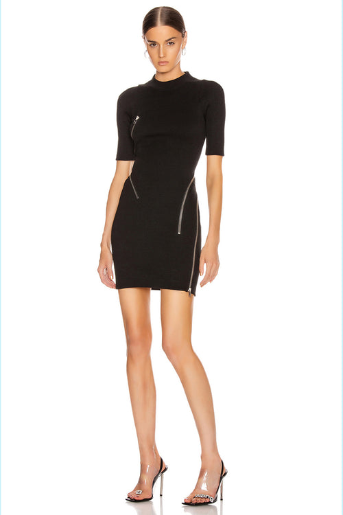 Black Zippers Mini Bandages Dress - iulover