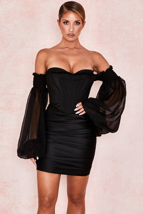 Black Off-Shoulder Bubble Long Sleeve Perspective Bodycon Dress