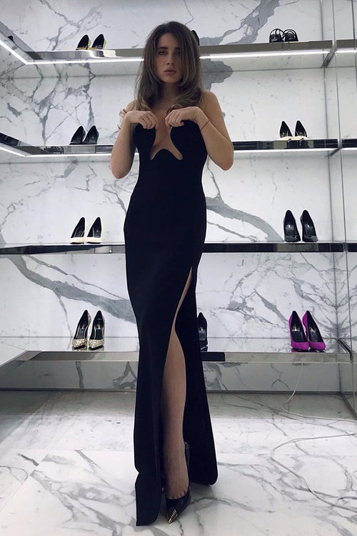 Black Off Shoulder Sleeveless Maxi Bandage Dress