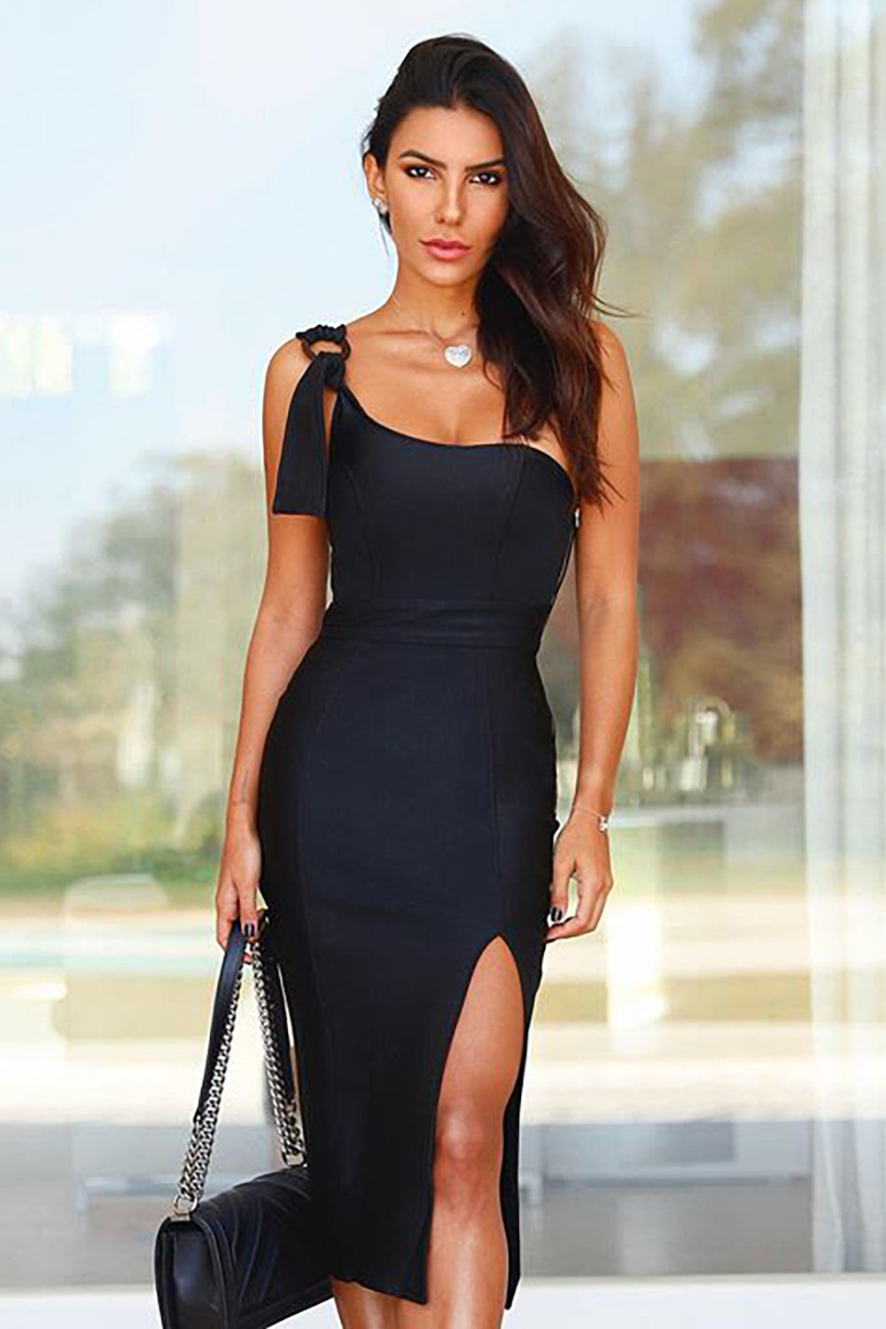Black One-Shoulder Sleeveless Split Bandage Dress - iulover