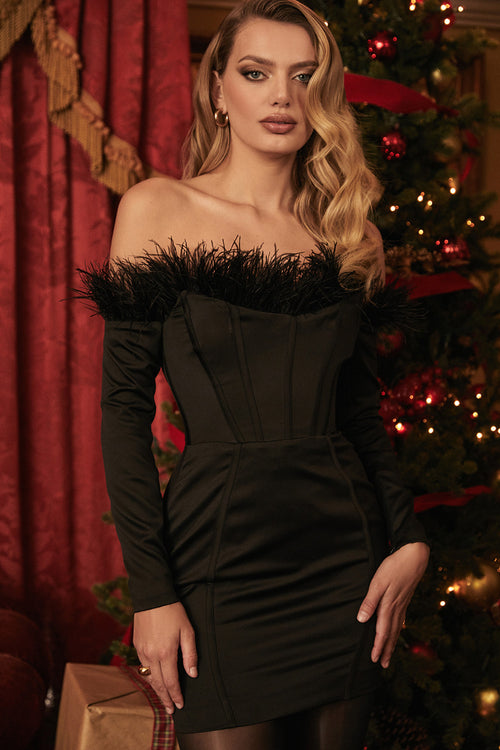 Black Strapless Feather Tight Mini Bandage Dress