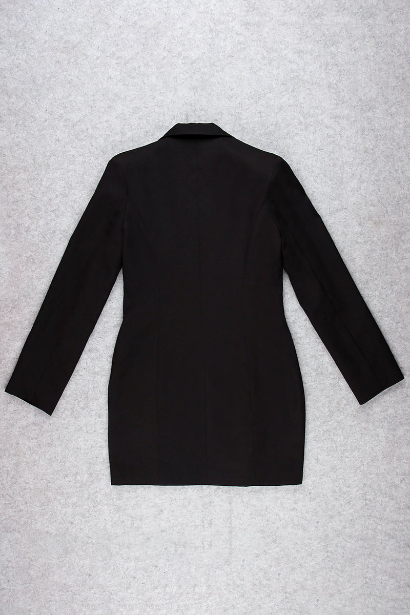 Black V-neck Crepe Blazer Dress