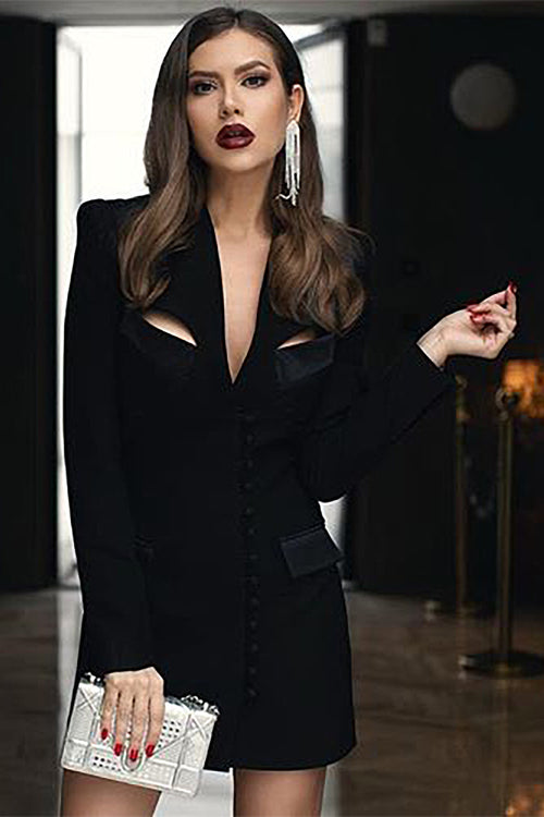 Long Sleeve V Neck Black White Blazer Dress