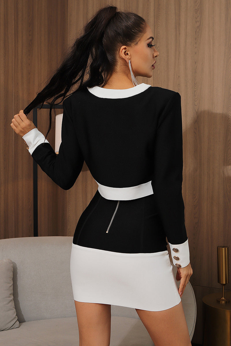 Black White Patchwork Button Long Sleeve Two Pieces Bandage Set