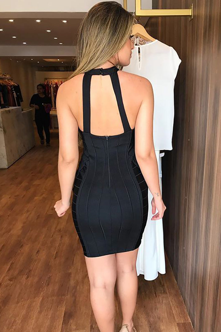 Black Bandage Cut out Mini Dress - iulover