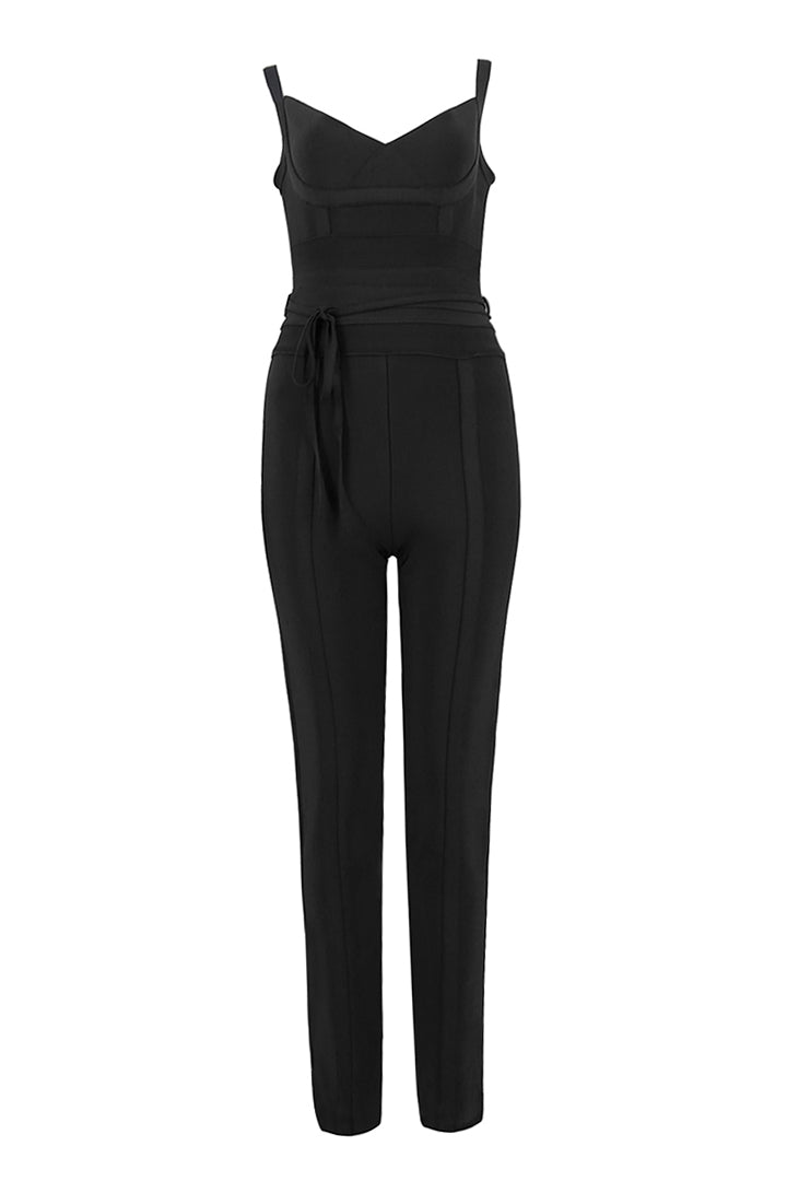 Black Waist Cinching Bandage Jumpsuit - iulover