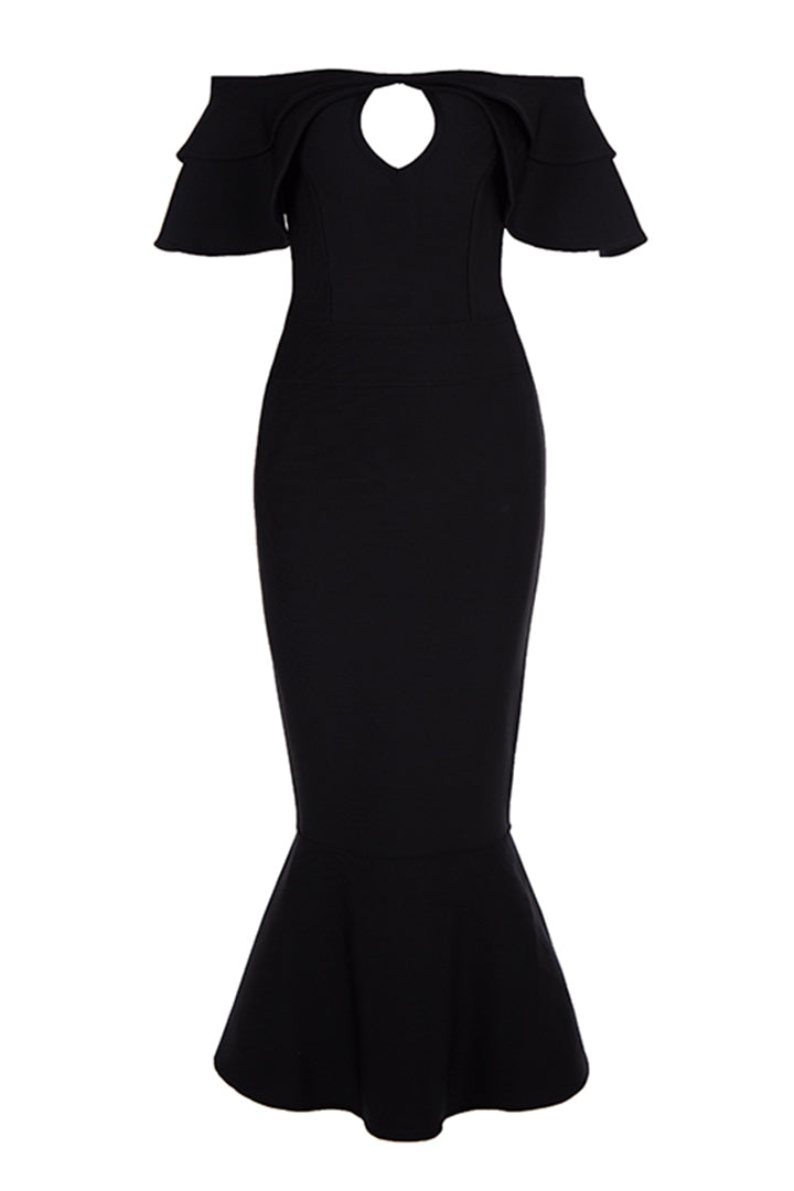 Black Cut Out Mermaid Midi Bandage Dress - iulover