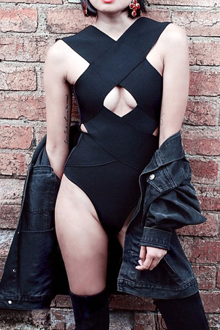 Cross Hollow Out Backless Bandage Beach Bodysuit Black Pink White