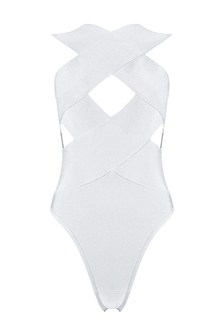 Cross Hollow Out Backless Bandage Beach Bodysuit Black Pink White - iulover