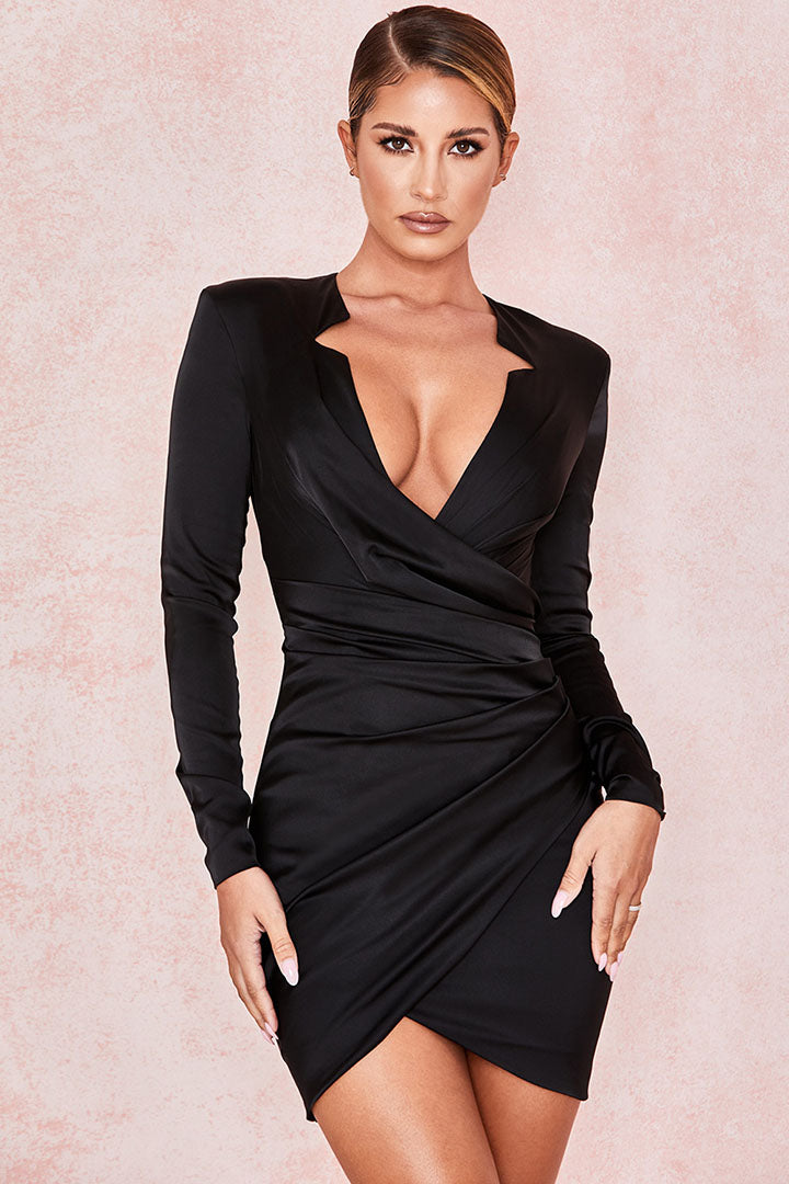 Black Gathered Tux Wrap Dress