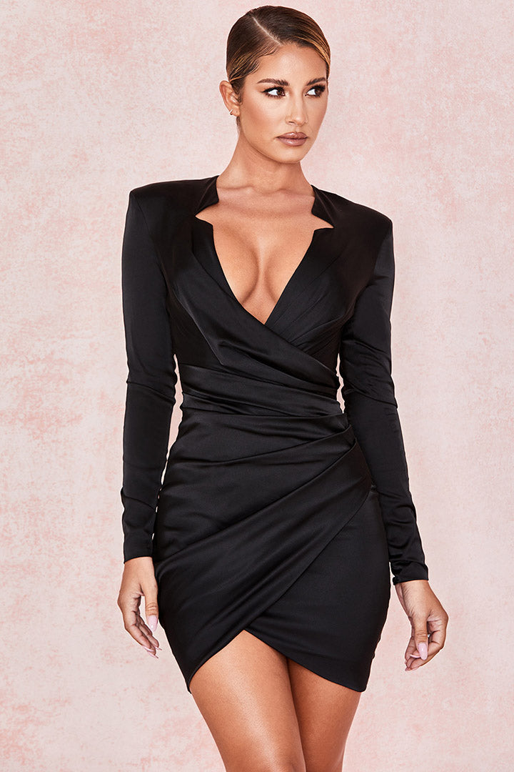 Black Gathered Tux Wrap Dress - iulover