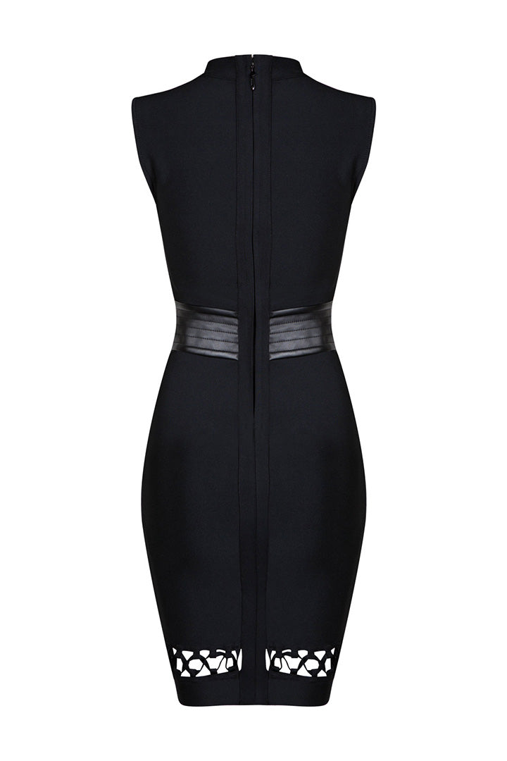 Black Hollow Out Lace-Up Sexy Slim Bodycon Bandage Dress - iulover