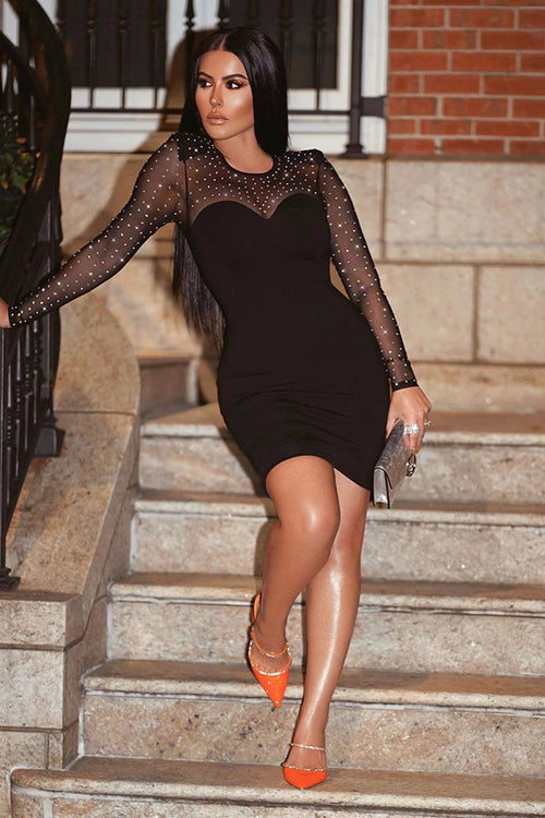 Black Long Sleeve Mesh Beaded Sequin Bandage Dress - iulover