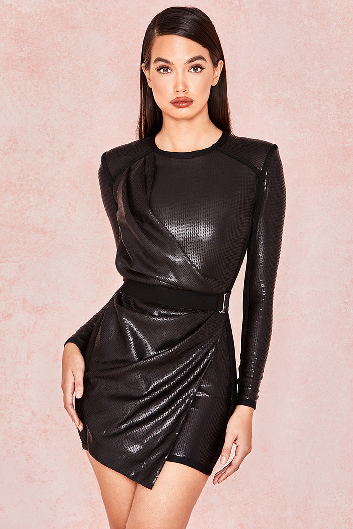 Black Matte Sequin Draped Mesh Dress - iulover