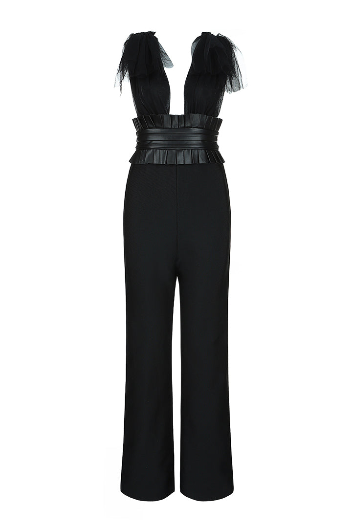 Deep V Neck Sleeveless Backless Lace Bow Jumpsuit - iulover