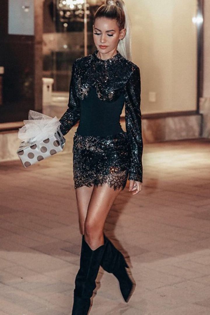 Black O Neck Sequined Mini Dress - iulover