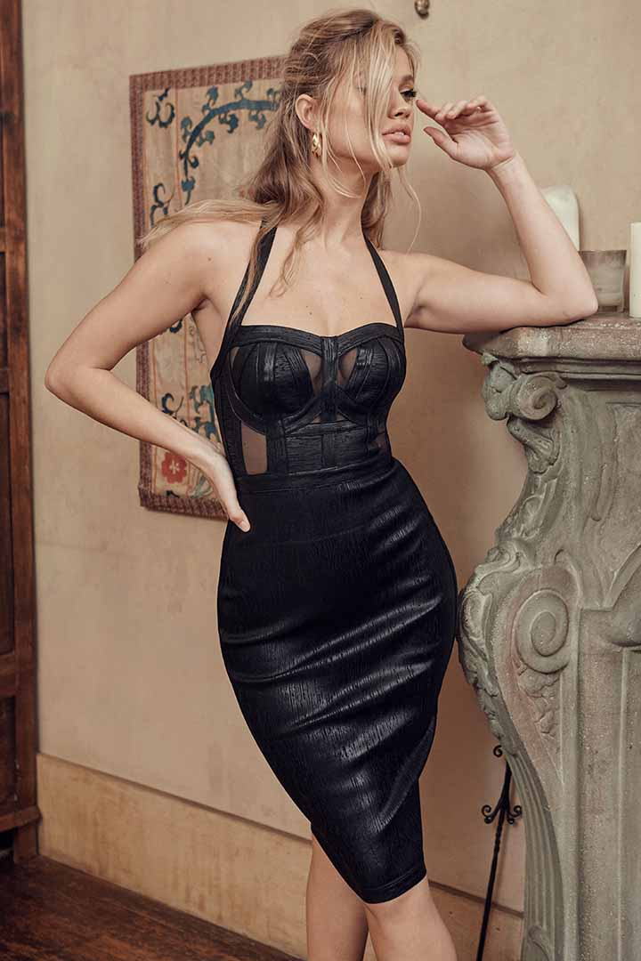 Halter Open Back Split Maxi Bandage Dress