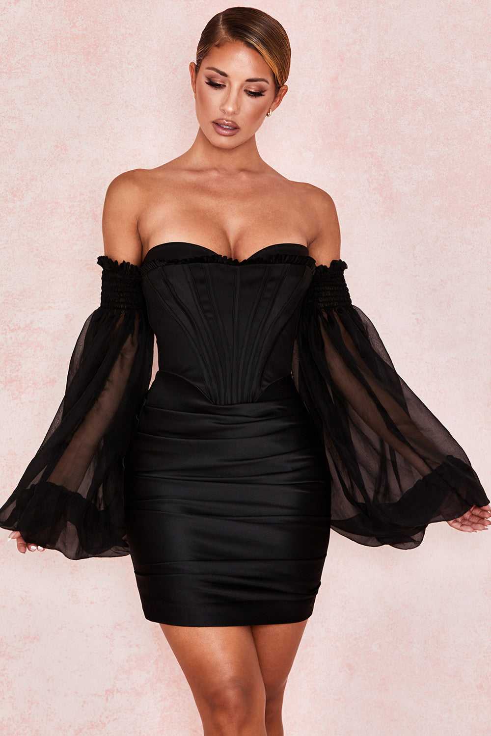 Black Satin And Chiffon Corset Dress