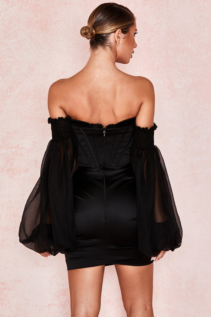 Black Satin And Chiffon Corset Dress - iulover