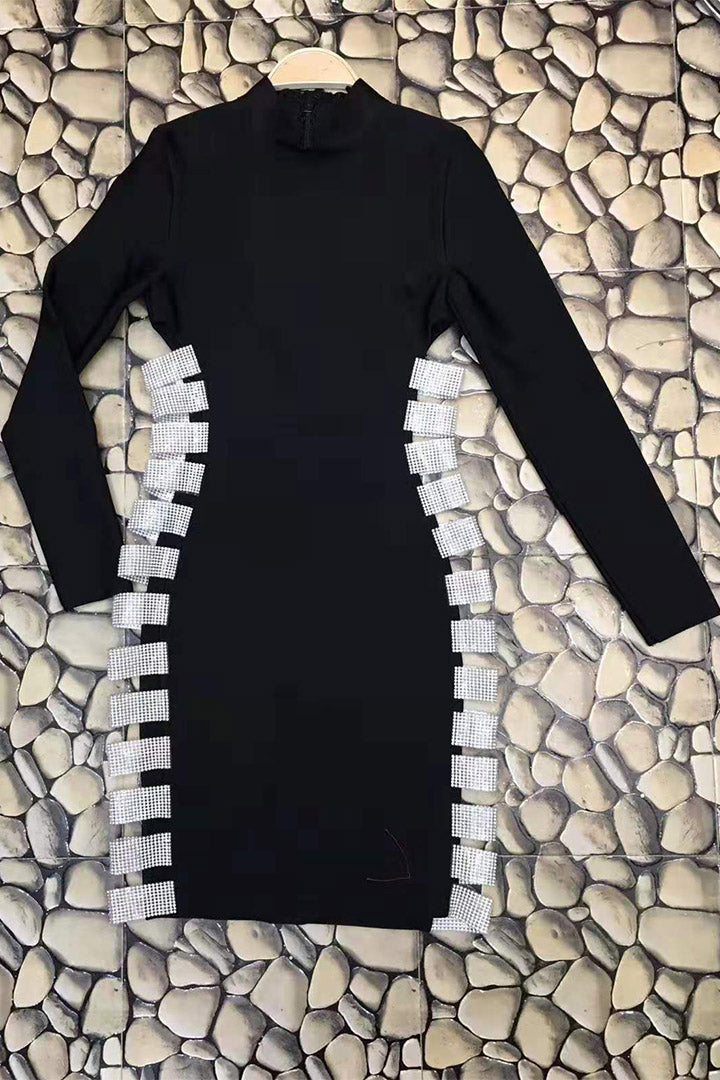 Sequin Ladder Cut Out Long Sleeve Bodycon Dress