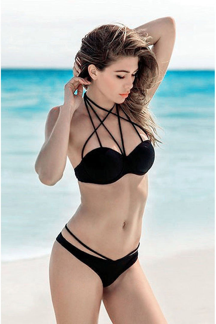 Black Sexy Bikini Set with Cups - iulover