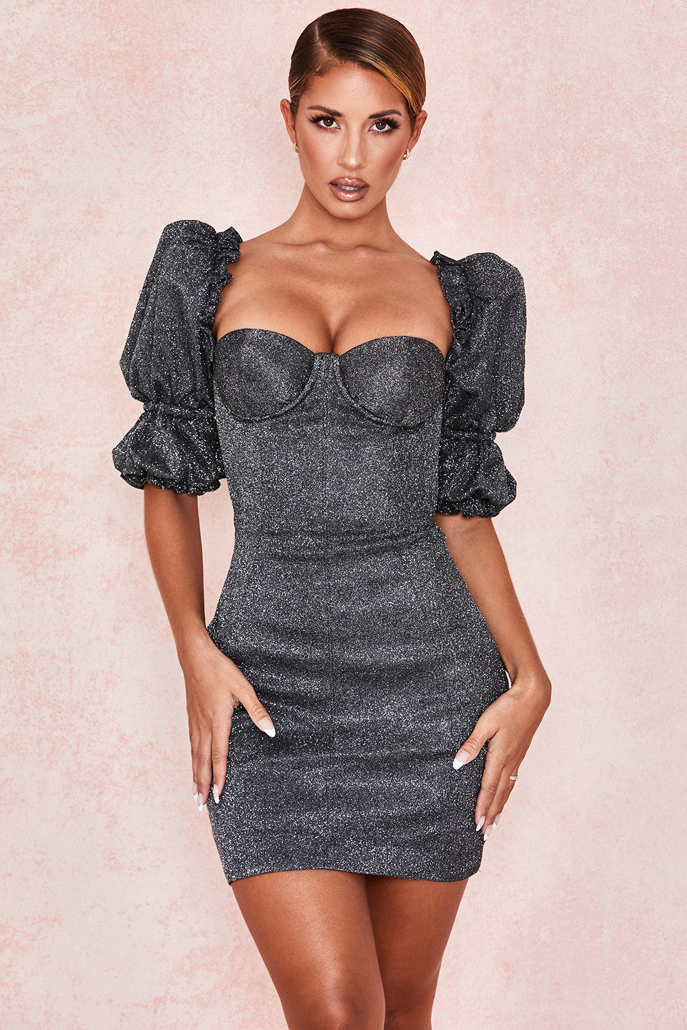 Black Sparkle Puff Sleeve Dress - iulover
