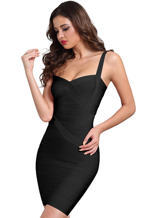 Strappy Bodycon Bandage Dress-Black/Pink/Dark Blue/Dark Red/Green - iulover
