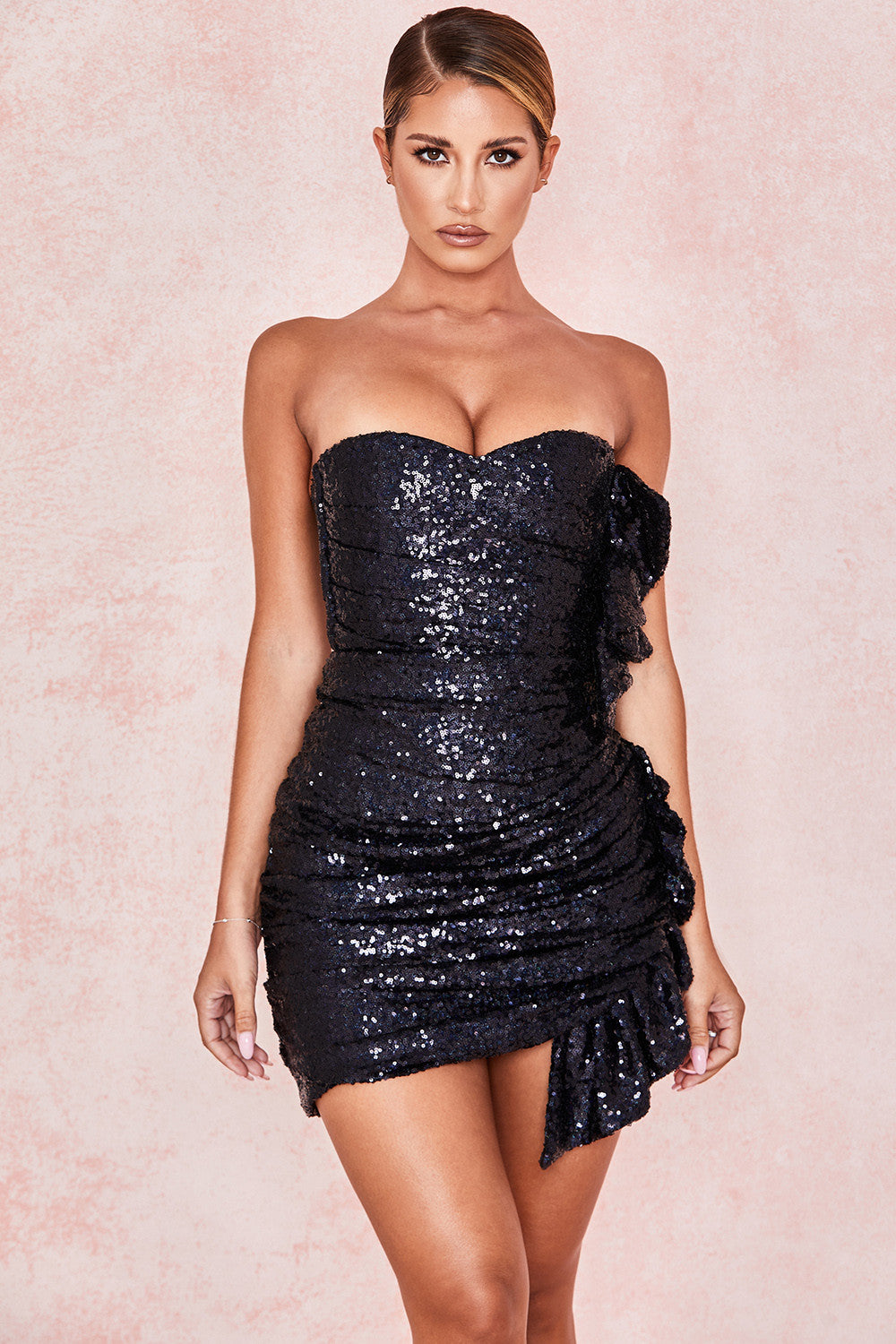 Black Two Sets Sequin Frill Mini Bodysuit Skirt - iulover