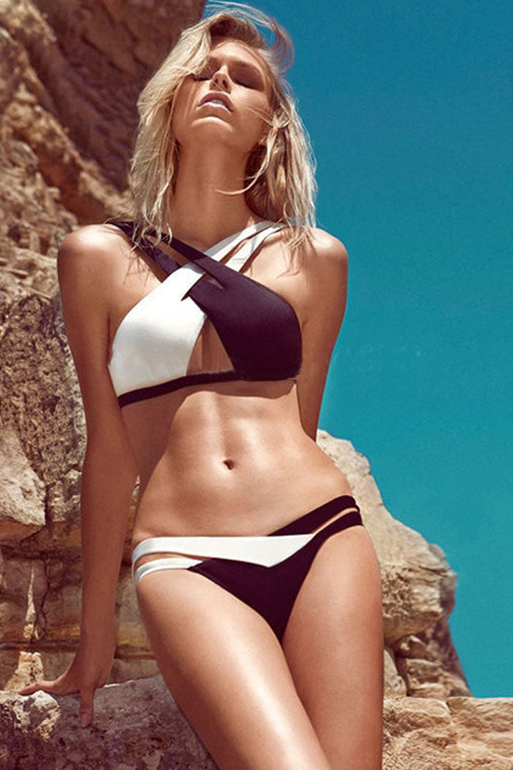 Black & White Criss-cross Bikini Set - iulover