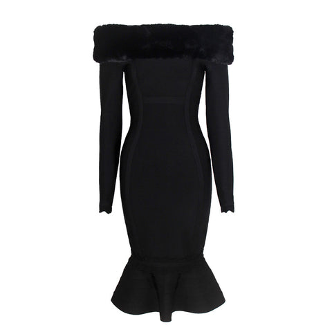 Black fur trim long sleeves mermaid bandage dress
