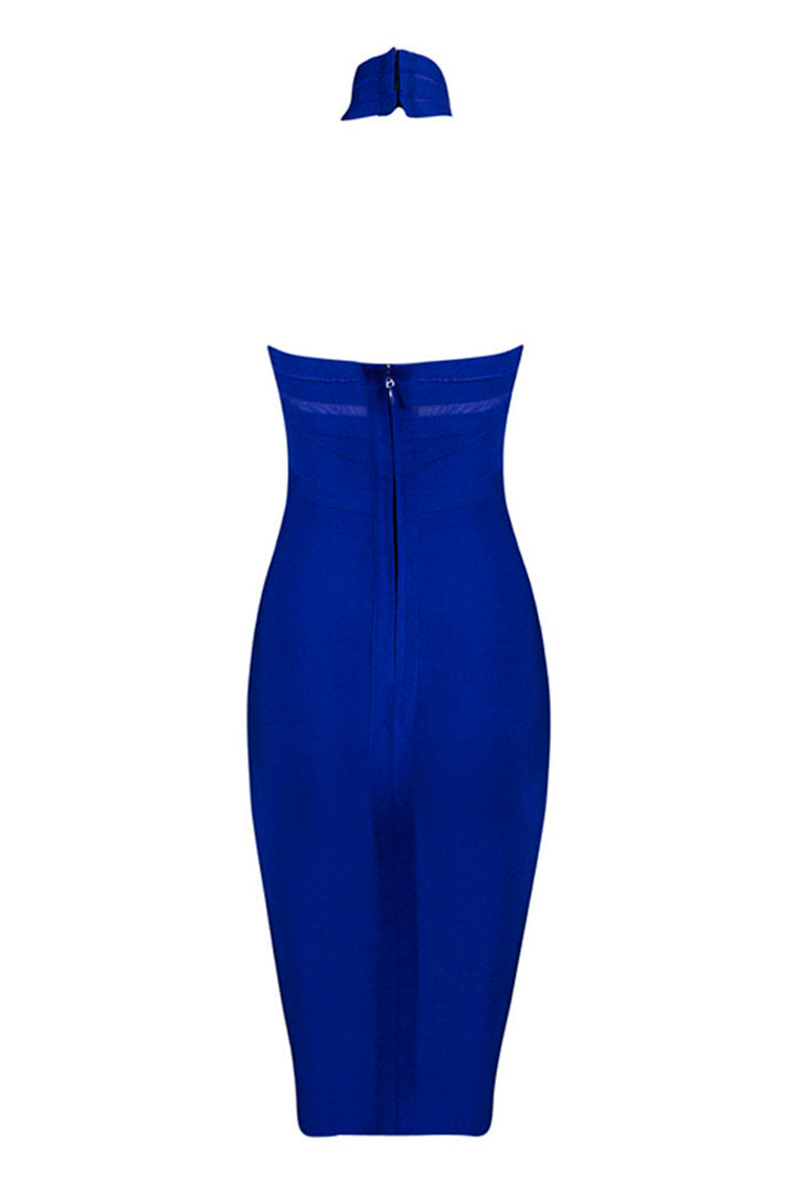Royal Blue Halter Neck Bodycon Bandage and Mesh Dress - iulover