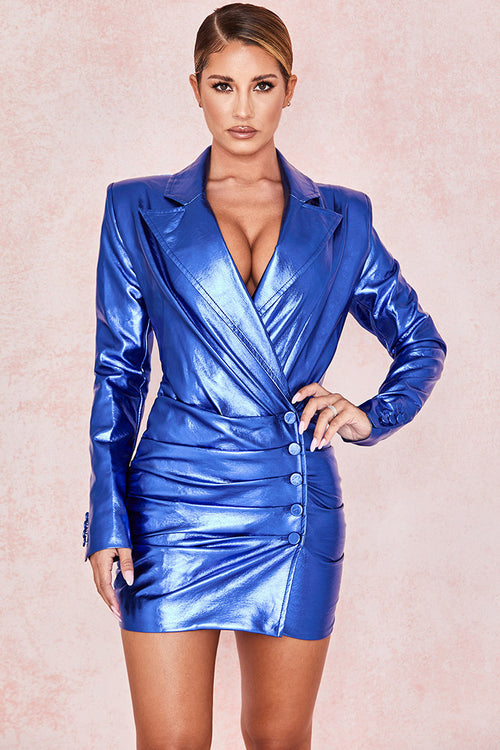 Blue PU Metallic Cobalt Blazer Dress - iulover
