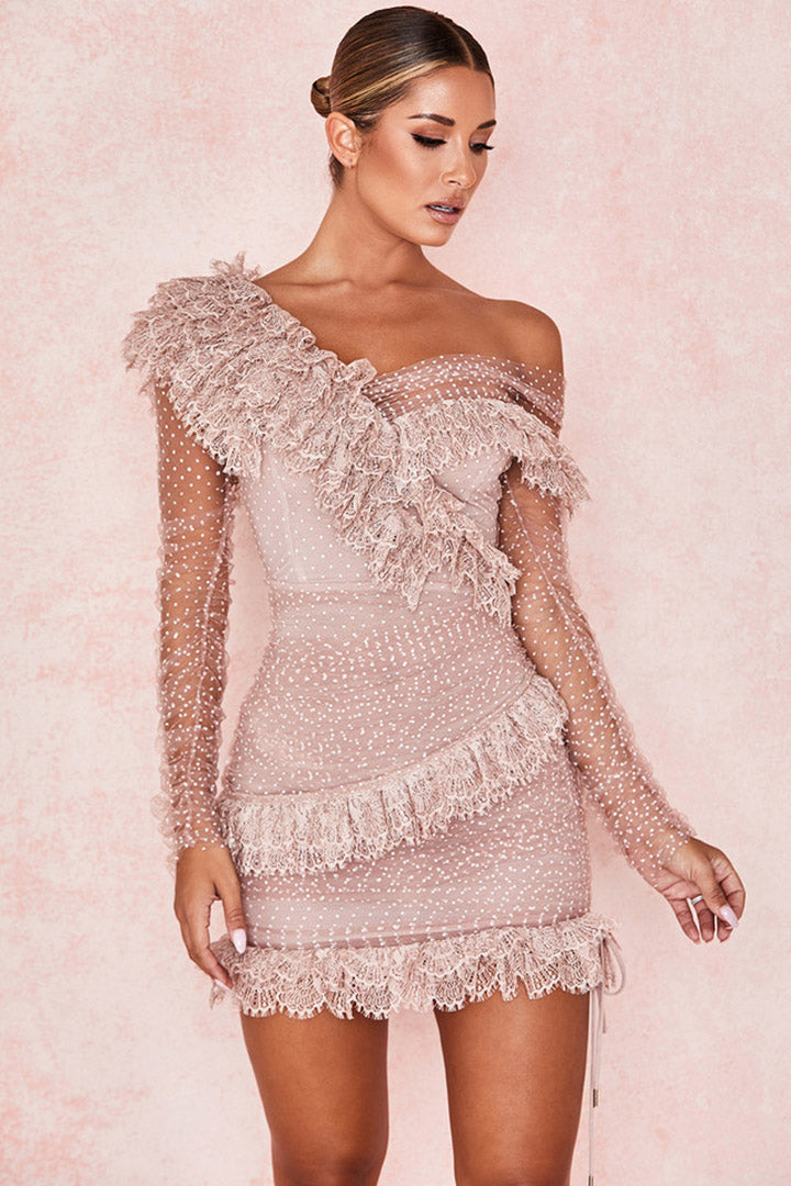 Blush Lace Frill Mini Dress - iulover