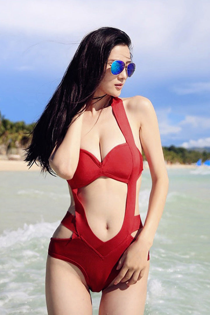 One Piece Halter Swimsuits Beach Spotlight Various Colours - iulover