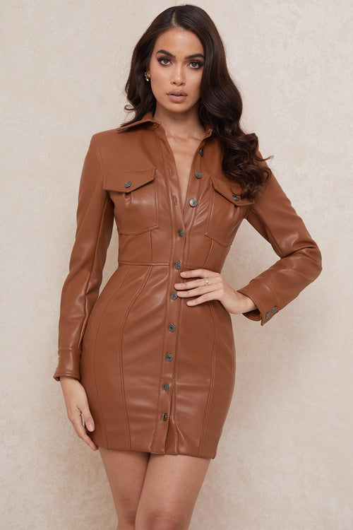 Brown PU Backless Bodycon Long Sleeves Dress