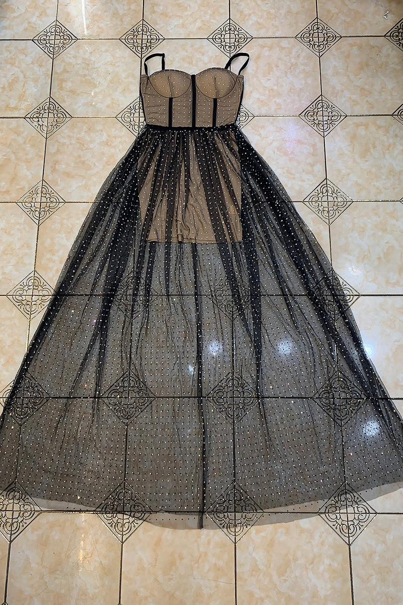 Brown Strappy Diamond Mesh Maxi Bandage Dress