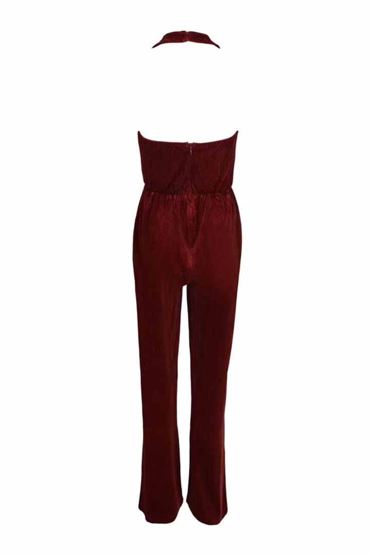 Brown Suede Hollow Deep V Jumpsuit - iulover