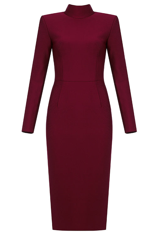 Burgundy Long Sleeve Turtleneck Midi Bandage Dress