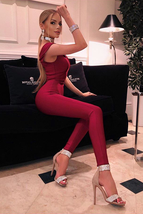 Burgundy Sleeveless V-neck Rayon Bandage Jumpsuit