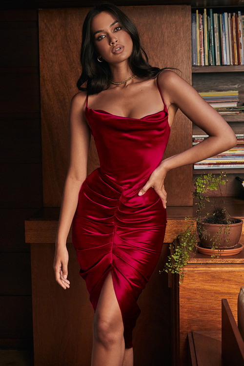Burgundy Spaghetti Strap Sleeveless Draped Midi Dress