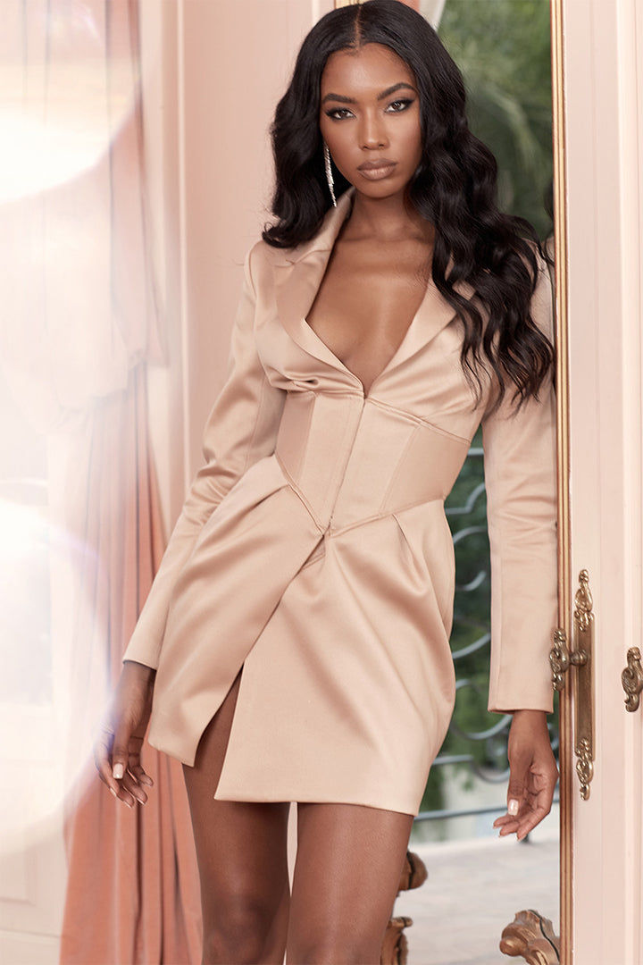 Champagne Satin Corset Tux Dress - iulover